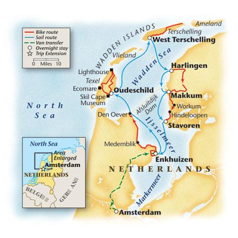 Holland Bike and Sail Tour Map