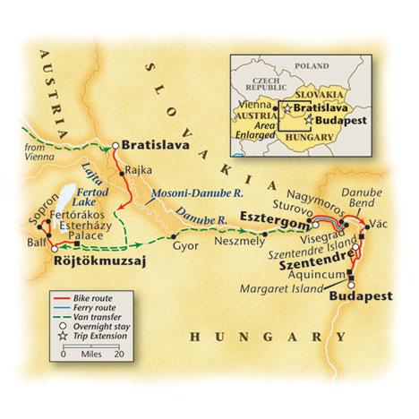 Hungary Slovakia Bike Tour Map