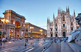 View of Piazza del Duomo in Milan, Italy
