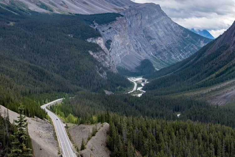 Icefields Parkway, Canadian Rockies, VBT Bicycling (By m01229 from USA (Crazy overlook on the Icefields Parkway) [CC BY-SA 2.0 (https://creativecommons.org/licenses/by-sa/2.0)], via Wikimedia Commons)
