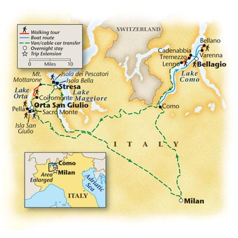 Walking Italian Lakes Tour Map
