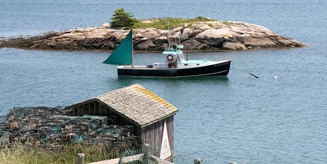 Lobster Boat and traps