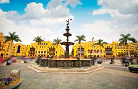 Peru: Panoramic view of Lima main square and cathedral church.