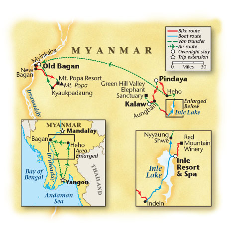 Myanmar Bicycle Tour Map