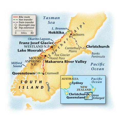 New Zealand Bike Tour Map