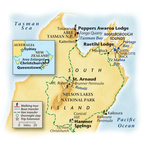 New Zealand Walking Tour Map