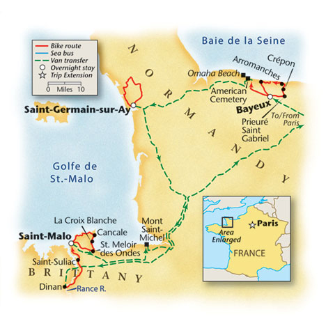 Normandy Bike Tour Map