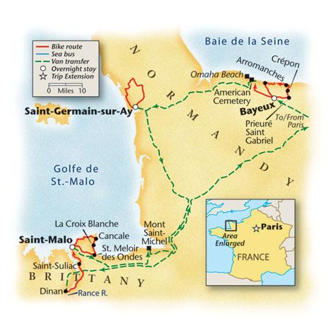 Normandy Bike Tour Map