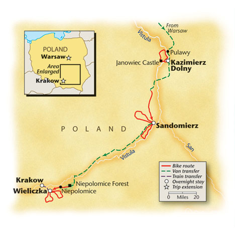 Poland bike tour map