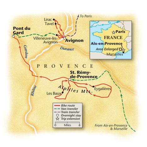 Biking Provence Tour Map