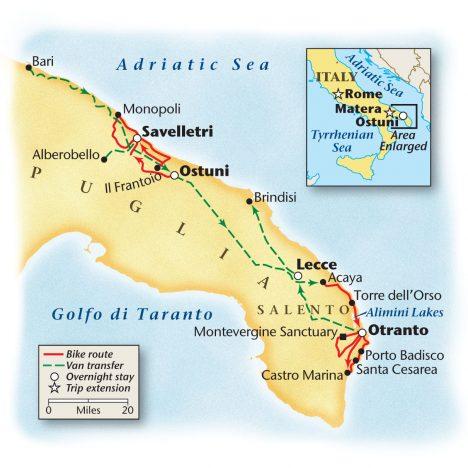 Map of Puglia Bike Tour