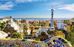 Park Guell in Barcelona, Spain on a sunny day.