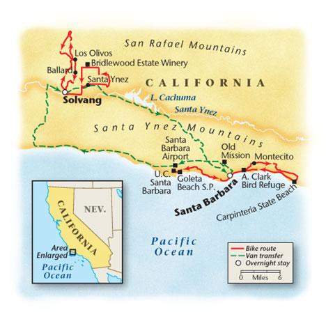 Santa Barbara Bicycle Tour Map