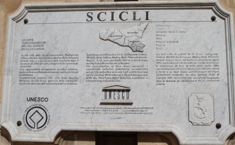 Scicli UNESCO sign