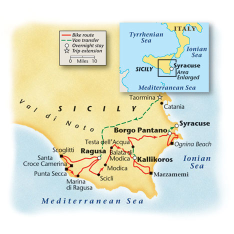 Sicily Bike Tour Map