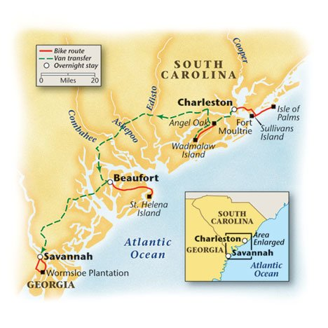 South Carolina Bike Tour Map