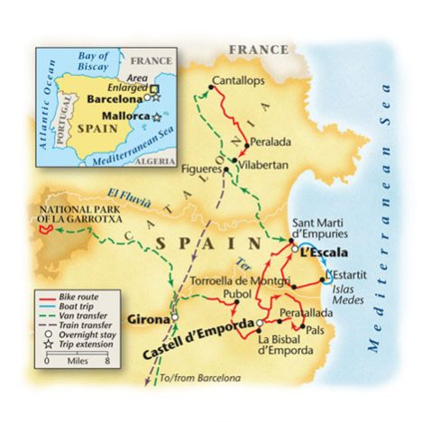 Spains Costa Brava Bike Tour Map