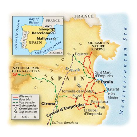 Spain's Costa Brava Bike Tour Map