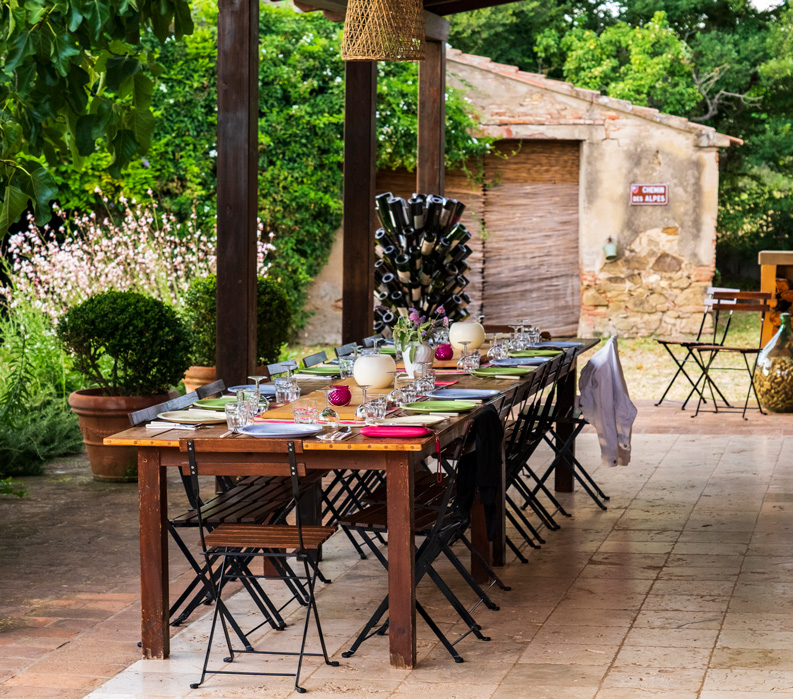 The Tuscan Coast, Italy. Dining outdoors.