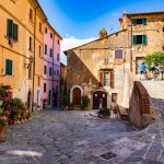 The Tuscan Coast, Italy. Town and stone streets.
