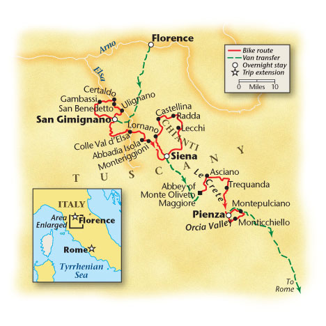 Tuscan Hill Town Bike Tour Map