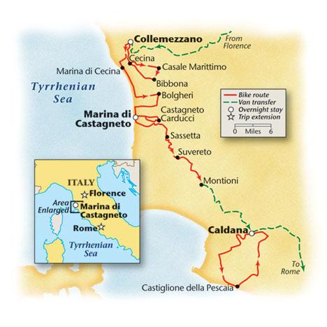 Tuscan Bike Tour Map