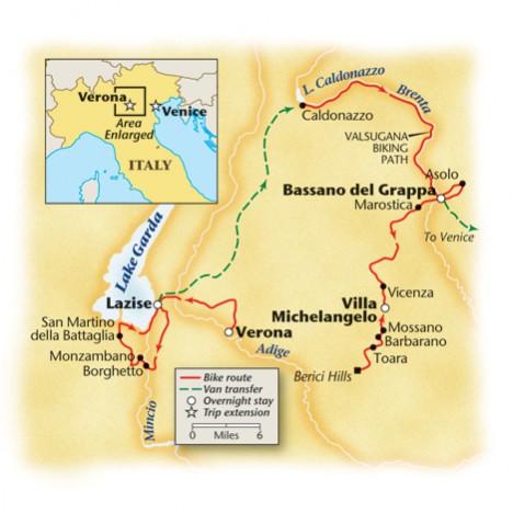 Lake Garda, Veneto, Guided Bike Tour Map