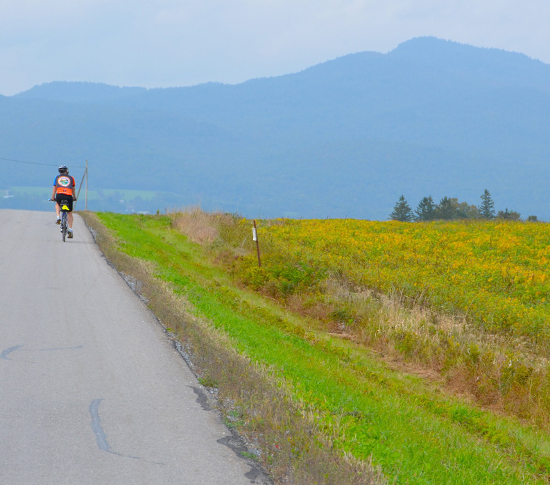 Vermont: Champlain Valley and Islands, Biking alongside field