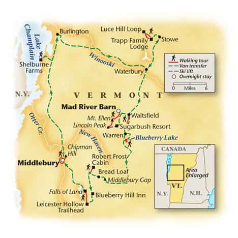 Vermont Walking Tour Map