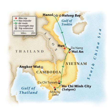 Vietnam Bicycle Tour Map