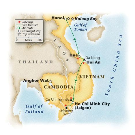 Vietnam Bike Tour Map