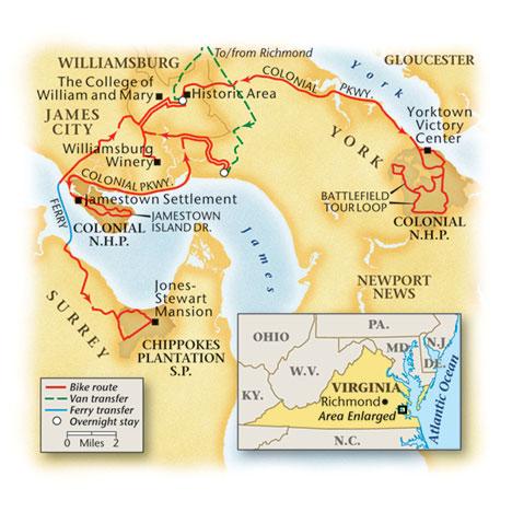 Virginia Bike Tour Map