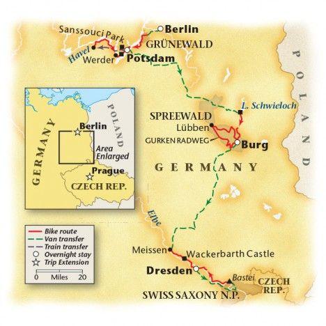 Berlin to Dresden bike tour map