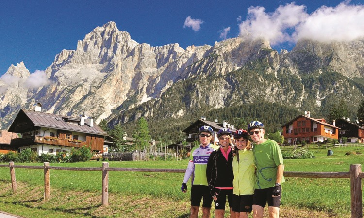 VBT bikers in the Dolomites, Italy