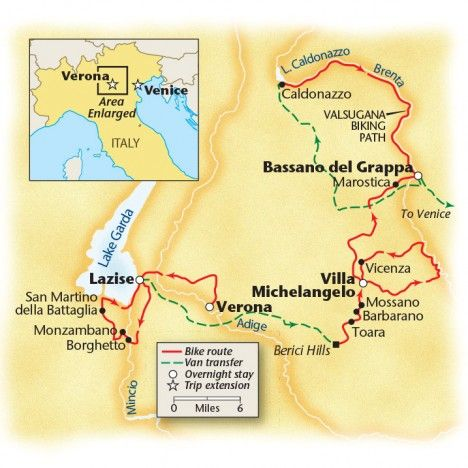 Lake Garda to Venice Bike tour map