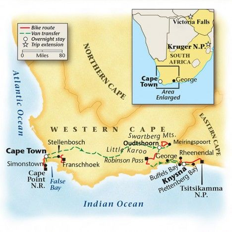 South Africa Bike Tour Map
