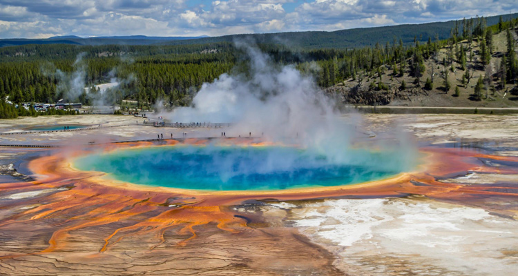 visiting volcanic Caldera at Yellowstone National Park
