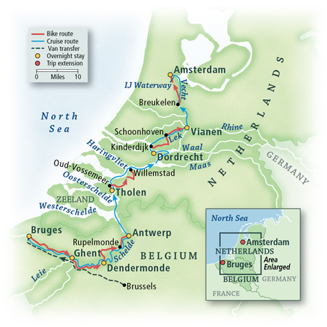 Map Of France And Holland Belgium.Holland And Belgium Bike Boat Tour Vbt Bicycling And Walking